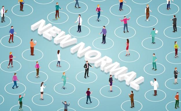 Świadomość społeczna przy zachowaniu dystansu fizycznego w nowym, normalnym stylu po pandemii wirusa pandemii płaskiej