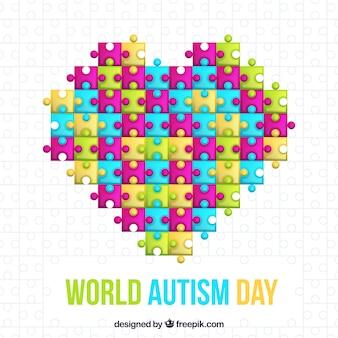 Świat autyzmu dnia tło z puzzlami w stylu płaski