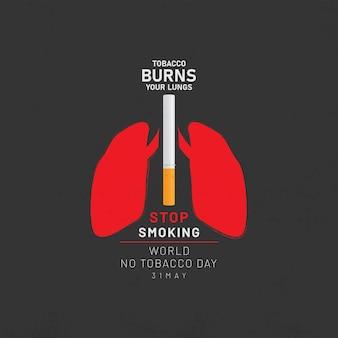 Świat bez tytoniu dzień transparent projekt ilustracji wektorowych