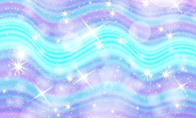 Świat fantazji. tło bajki. ilustracja wektorowa. holograficzne magiczne gwiazdy. wzór jednorożca. cukierki tło.