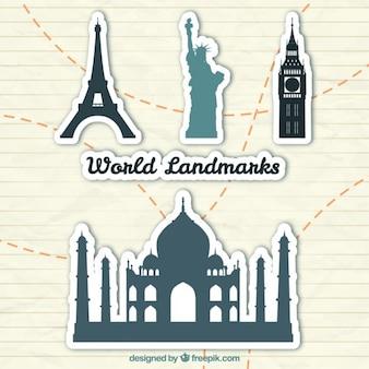 Świat landmark naklejki