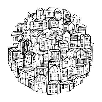 Świat miasta doodles elementy tła.