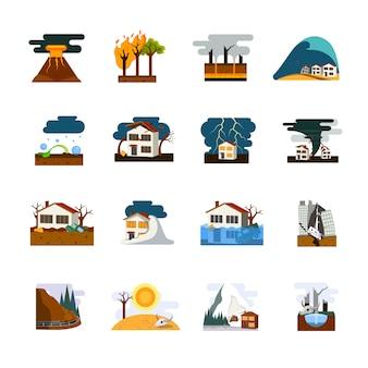 Świat najgorsze klęski żywiołowe symbole płaskie piktogramy kolekcja z trzęsieniem ziemi tsunami i lawina niebezpieczeństwo izolowane ilustracji wektorowych
