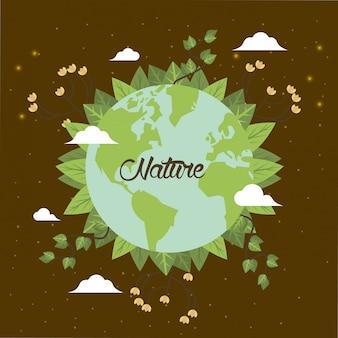 Świat planeta ziemia z liści roślin wektor ilustracja karta projekt
