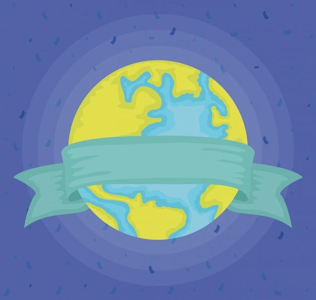 Świat planeta ziemia z ramą wstążki
