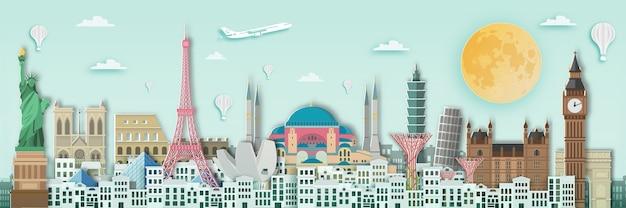 Świat punkt orientacyjny dla podróżnego plakata, papierowy sztuka styl.
