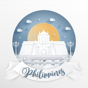 Świat sławny punkt orientacyjny filipiny z białą ramą i etykiety