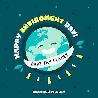 Świat środowiska dzień tła z uśmiecha się ziemi