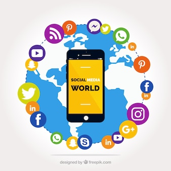 Świat tła z ikonami sieci społecznych i telefon komórkowy
