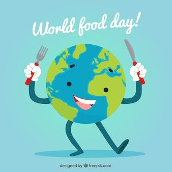 Świat żywności dzień tła z globusem ziemi