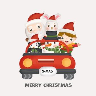 Świąteczna akwarela ze świątecznym uroczym mikołajem, przyjaciółmi i elementami świątecznymi na kartki okolicznościowe, zaproszenia, papier, opakowanie.