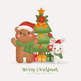 Świąteczna akwarela zima z choinką i elementem bożonarodzeniowym na kartki okolicznościowe, zaproszenia, papier, opakowania,