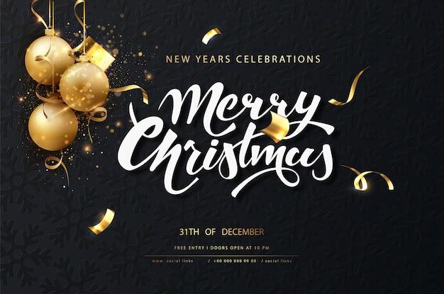 Świąteczna ciemna karta świąteczna. ciemne tło boże narodzenie ze złotymi kulkami, girlandami, błyskami i lampkami noworocznymi