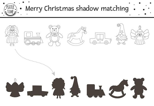Świąteczna czarno-biała aktywność dopasowywania cieni dla dzieci zimowa kolorowanka z uroczymi zabawkami