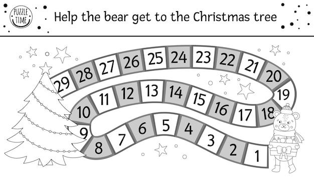 Świąteczna czarno-biała gra planszowa dla dzieci z uroczym zwierzakiem. edukacyjna gra planszowa z świątecznymi dekoracjami, misiem, choinką. zabawna zimowa aktywność do druku lub strona do kolorowania.
