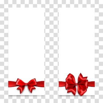Świąteczna czerwona satynowa kokardka na ulotkach z kuponami