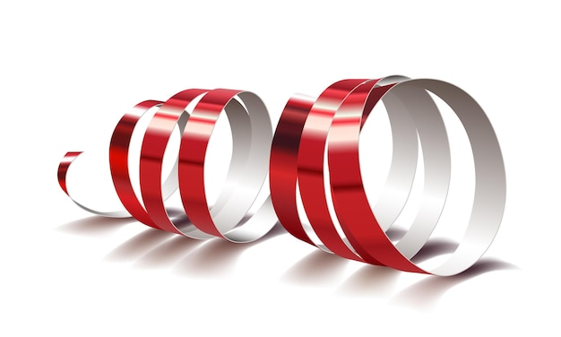 Świąteczna czerwona wstążka na białym tle. realistyczne serpentyny wektorowe. karnawałowa ozdoba serpentyn na baner i wspaniały projekt karty.