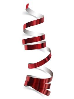 Świąteczna czerwona wstążka na białym tle. realistyczne serpentyny.