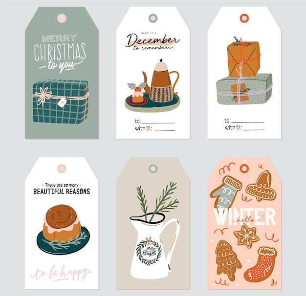 Świąteczna etykieta prezentowa z uroczą ilustracją hygge i życzeniami świątecznymi. ręcznie rysowane szablony kart do druku. projektowanie etykiet sezonowych. . zestaw na białym tle