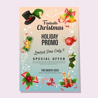 Świąteczna fantastyczna wyprzedaż świąteczna plakatowa dekoracja dzwonka