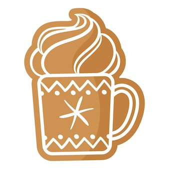 Świąteczna filiżanka herbaty lub kawy piernika pokryta białym lukrem. wesołych świąt i szczęśliwego nowego roku koncepcja.