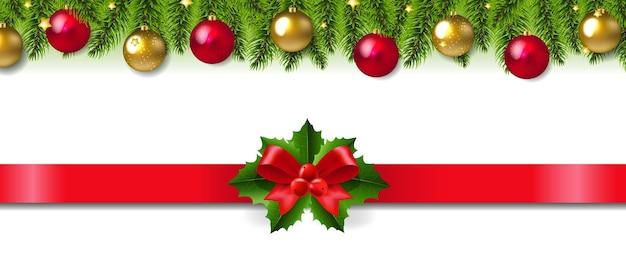 Świąteczna girlanda z czerwoną wstążką i kokardką