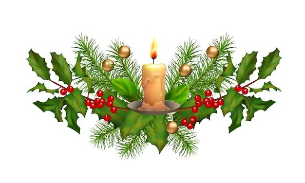 Świąteczna girlanda z dekoracjami i świeczką