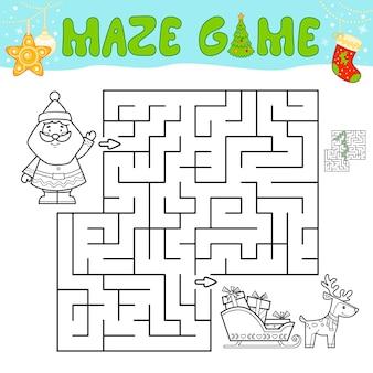 Świąteczna gra logiczna labirynt dla dzieci. zarys labirynt lub labirynt gry z mikołajem.