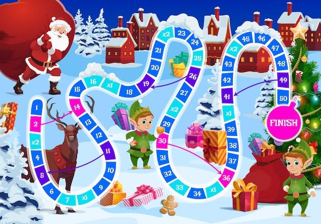 Świąteczna gra planszowa dla dzieci z postaciami świętego mikołaja, renifera i elfa. święty mikołaj niosący wielki worek z prezentami, urocze elfy i jelenie, prezenty, choinkę. dziecięca gra typu roll and move