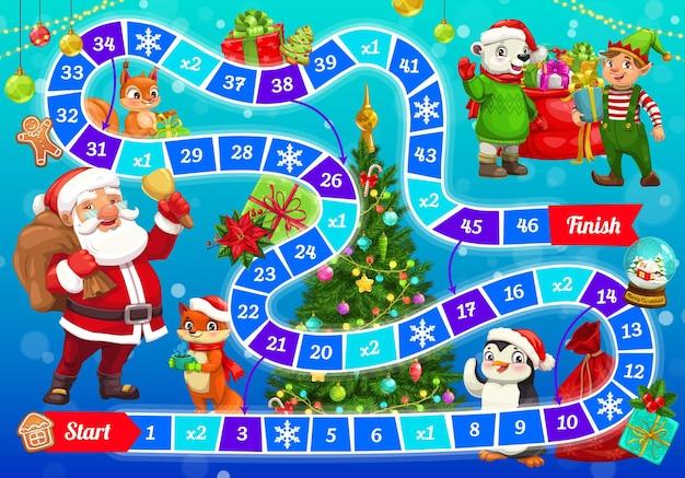 Świąteczna gra planszowa dla dzieci ze świętym mikołajem i zwierzętami