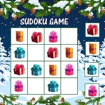 Świąteczna gra sudoku dla dzieci z pudełkami na prezenty świąteczne. logiczny labirynt dla dzieci, szablon gry edukacyjnej z zawiniętym w kolorowy papier i ozdobiony kokardkami ze wstążki przedstawia pudełka z kreskówek
