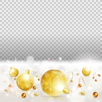 Świąteczna granica z bombkami, złote kręcone serpentyny. boże narodzenie ramki na przezroczystym tle.