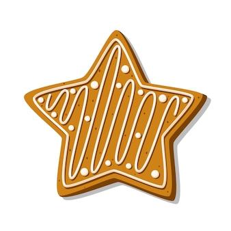 Świąteczna gwiazda z piernika z lukrem na białym tle. domowe ciasteczka. ilustracja wektorowa