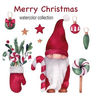 Świąteczna i noworoczna akwarela z uroczym gnomem, rękawiczką, lizakami i kulkami sosny
