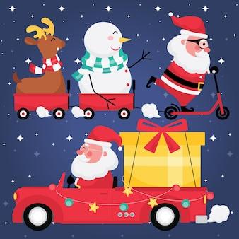 Świąteczna i noworoczna kolekcja świąteczna zawiera zestaw zdjęć świętego mikołaja z reniferem, bałwanem, czerwonym wózkiem i prezentem na samochodzie z ciemnoniebieskim tłem