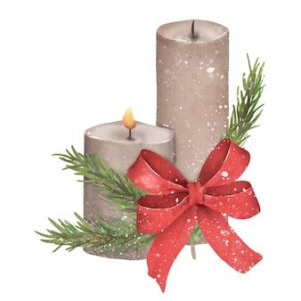 Świąteczna i noworoczna świeca akwarelowa śliczny świąteczny wystrój