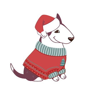 Świąteczna ilustracja bulteriera w swetrze i czapce świętego mikołaja