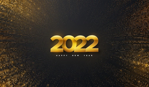 Świąteczna ilustracja noworoczna złotych metalicznych liczb 2022 na czarnym tle ze złotymi błyskami