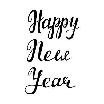 Świąteczna ilustracja wektorowa z napisem pozdrowienia szczęśliwego nowego roku
