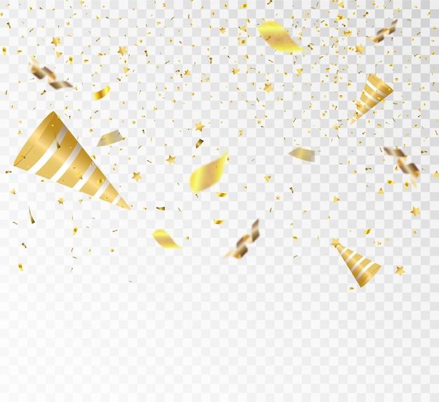 Świąteczna ilustracja wektorowa ze złotym spadającym konfetti z rozmyciem na przezroczystym tle