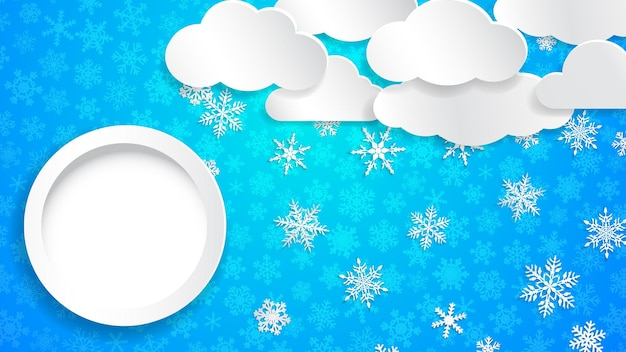 Świąteczna ilustracja z białymi chmurami, płatkami śniegu i okrągłą ramką na jasnoniebieskim tle