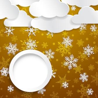 Świąteczna ilustracja z białymi chmurami, płatkami śniegu i okrągłą ramką na żółtym tle