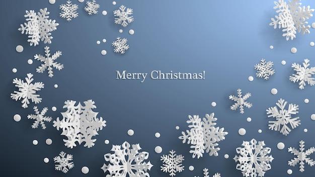 Świąteczna ilustracja z białymi trójwymiarowymi papierowymi płatkami śniegu na szarym tle