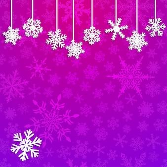 Świąteczna ilustracja z białymi wiszącymi płatkami śniegu na fioletowym tle