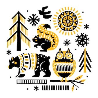Świąteczna ilustracja z leśnymi zwierzętami, ptakami, lasami i płatkami śniegu