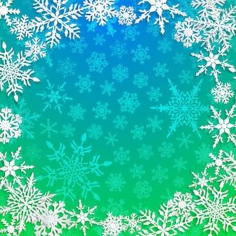 Świąteczna ilustracja z okrągłą ramą dużych białych płatków śniegu z cieniami na jasnoniebieskim tle