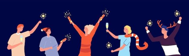 Świąteczna impreza przyjaciół. kreskówka szczęśliwego nowego roku, święta bożego narodzenia. mężczyzna kobieta trzyma fajerwerki i okulary, ilustracja wektorowa zima fest. kobieta i mężczyzna boże narodzenie razem świętują imprezę