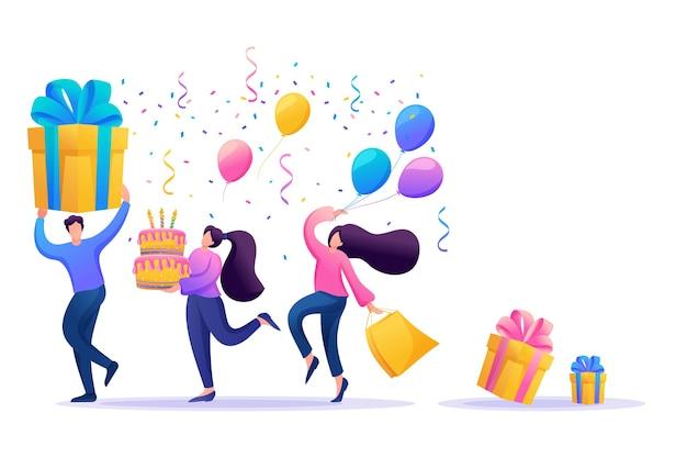 Świąteczna impreza z przyjaciółmi. ludzie niosą prezenty, balony, tort ze świecami, tańczą i świętują