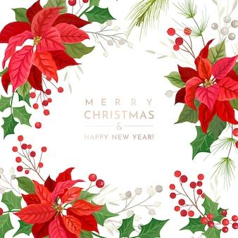 Świąteczna karta kwiat poinsecji, szablon zaproszenia party wektor, dekoracja sezonu, liście ostrokrzewu i jagody. zimowa ilustracja projektu ramy, kwiatowe pozdrowienia 2020, świąteczne liście stacjonarne