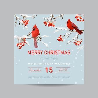 Świąteczna karta zaproszenie zima ptaki i jagody